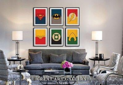 ABOUT。R 超人正義聯盟蝙蝠俠閃電俠綠燈俠海王神奇女俠海報裝飾畫英雄人物LOGO創意版畫(多款可選)