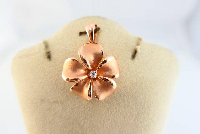 [吉宏精品交流中心]9分 天然鑽石 花朵造型 玫瑰金 墜子