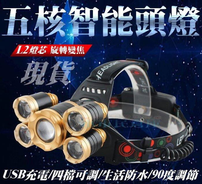 小市民倉庫-現貨發售-五核智能頭燈-送18650電池X2+充電線-燈芯遠射-工作頭燈-釣魚頭燈-登山頭燈-LED頭燈