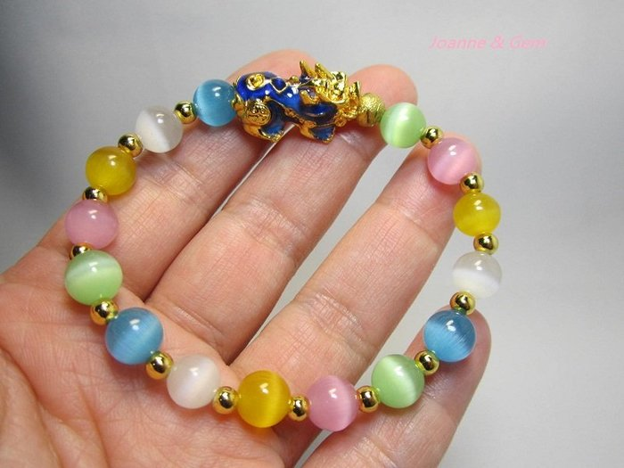 天然五彩貓眼石+變色貔貅-女款手鍊~甜甜價§一條就給你五種好運§