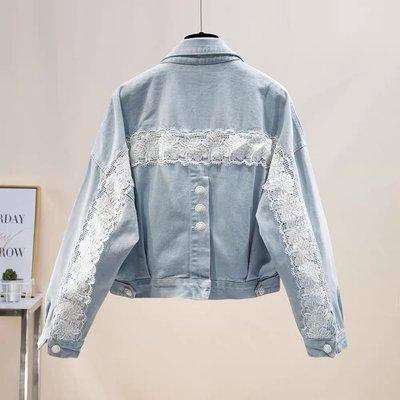🌀正韓🌀蕾絲拼接排扣牛仔外套『BA0692』