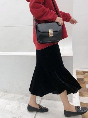 哆啦本鋪 復古氣質絲絨裙荷葉邊半身裙中長款過膝高腰包臀魚尾裙女D655