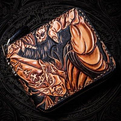 ~皮皮創~原創設計手作包。純手工手工皮雕錢包 男女短夾拉鏈款吐司麵包 頭層牛皮雕刻招財短皮夾 真皮財布