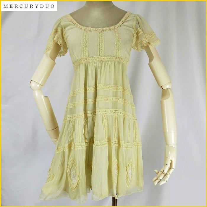 日本帯回✈️MERCURYDUO 新品 高腰洋裝 檸檬黄色 蕾絲裝飾 短袖 高腰連身洋裝 日本品牌女裝 A32F9M