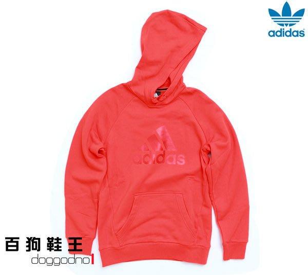 百狗衣舖.ADIDAS ESS Logo Hood 大LOGO 男用帽T 連帽T恤 紅/藍 棉質 耳機 亞洲人剪裁