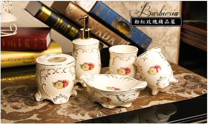 粉紅玫瑰精品屋~歐式陶瓷衛浴五件套浴室牙刷杯洗漱口杯套裝~現貨