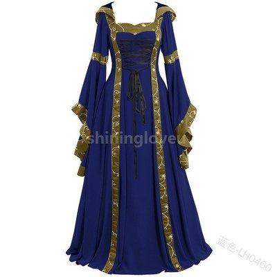 大尺碼Cosplay歐美中世紀復古洋裝連帽連衣裙方領系帶喇叭袖大擺裙禮服NNJ326323NN3598雪兒物語