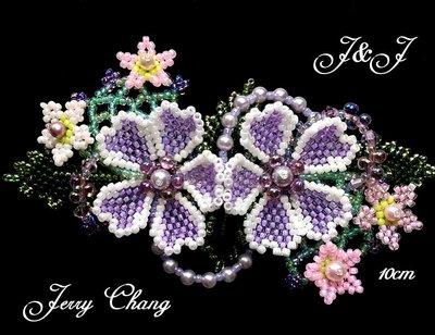 J&J精品~與妳同心~珠寶編織立體花葉法國夾~紫羅蘭款