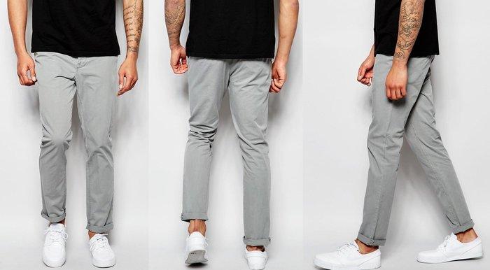 ◎美國代買◎ASOS反摺褲管棉質灰色顯廋英倫風九分款長褲~歐美街風~大尺碼