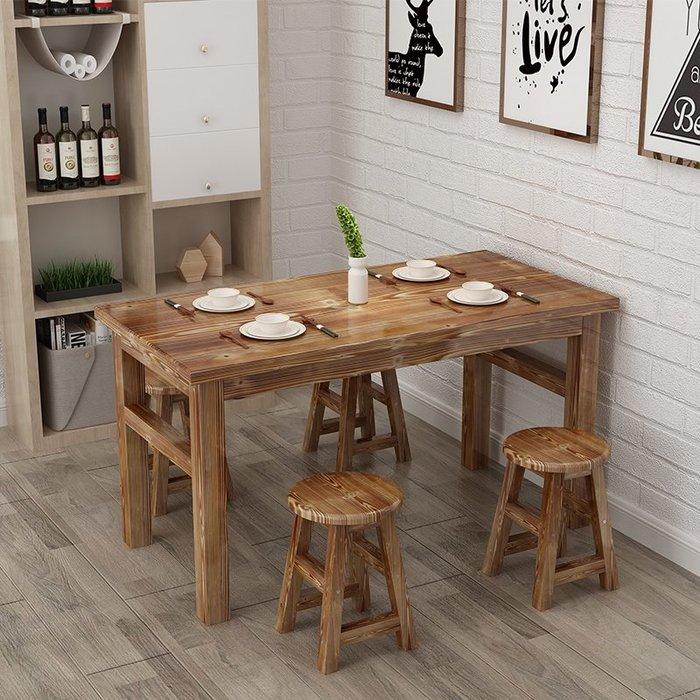 降價大促-桌椅組合實木大排檔燒烤面館快餐小吃店碳化火鍋店桌椅支持訂做WY