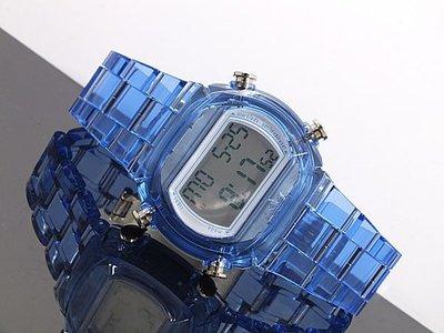 【adidas - ADH 6507】100%全新正品 輕量化 運動型 電子錶 名錶 手錶 / 透明藍色【防水50米】56g