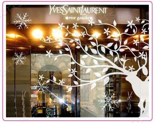 小妮子的家@聖誕馴鹿一壁貼/牆貼/玻璃貼/磁磚貼/汽車貼/家具貼