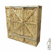 衣櫃 工業風 櫥櫃管櫃子木櫃木箱鄉村風滑門吊軌懸吊拉門推拉穀倉門衣架6尺5尺4尺