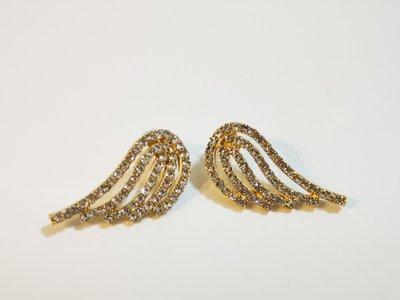 Mi 925銀針水鑽金色翅膀耳環/現貨