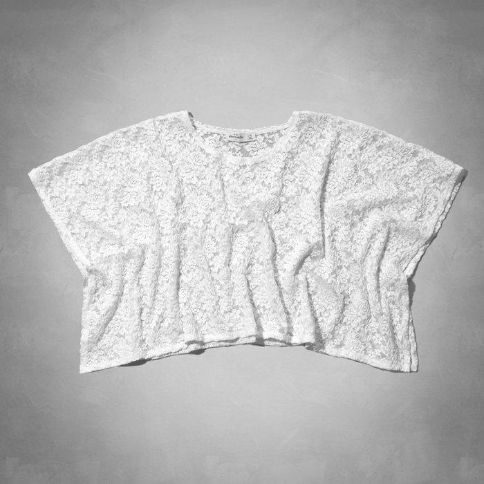 【天普小棧】a&f abercrombie Kids cropped lace poncho蕾絲披風罩衫上衣外套L/XL