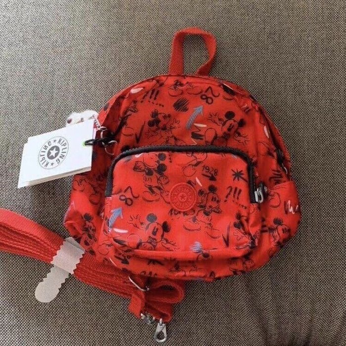 Kipling x Disney  紅底米奇塗鴉 猴子包 mini 12673 多用肩背斜背輕量雙肩後背包 小號 防水 限時優惠