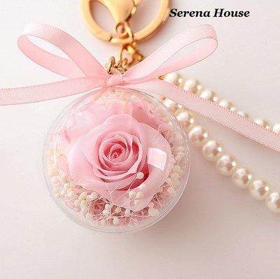 ~Serena House~不凋花 永生花 小王子美女與野獸 粉紅玫瑰花吊飾 情人節禮物 鑰匙圈 婚禮小物