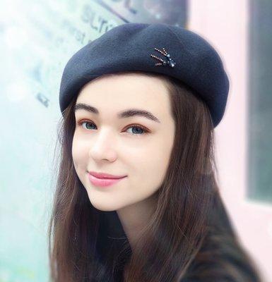 SR 優雅時尚水鑽100%羊毛貝蕾帽 毛帽 毛呢帽 4色