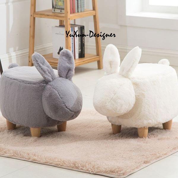 小兔椅凳 動物椅凳 兒童椅穿鞋椅 毛可拆洗 裝飾擺飾  北歐鄉村宜家風格 兒童房裝潢設計 宥薰設計家