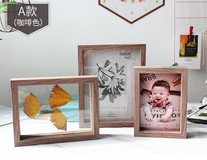 [C.M.平價精品館]部份現貨/5*7/北歐創意實木相框/可自製標本/暖白咖啡色畫框/相框