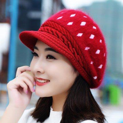 東大門平價鋪   時尚兔毛帽 純色鴨舌帽子,女貝雷帽保暖針織毛線帽