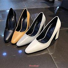 Freedom~女鞋韓國東大門女鞋19春季新款正韓淺口尖頭粗跟套腳超高跟休閒單鞋女