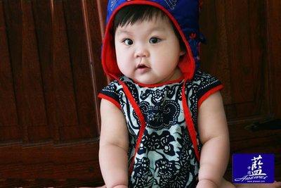!中國藍Anewei客家藍染長命百歲肚兜~F~特惠249 滿月禮/彌月禮 麗嬰房活動採用