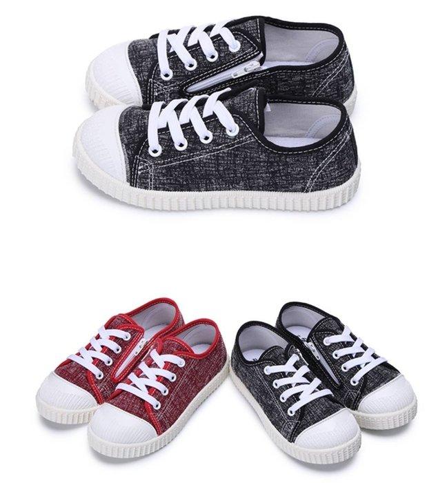 富發牌。童鞋。33CH11 蠟筆混彩兒童休閒帆布鞋 (紅/黑)(16-21號) ~nanakids娜娜童櫥