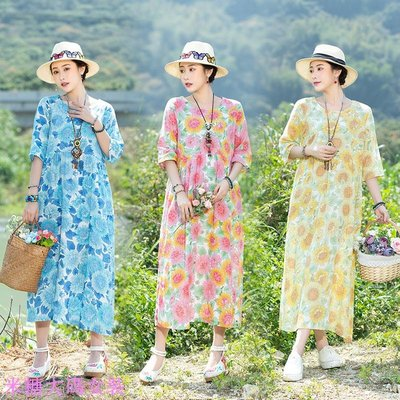 輕熟風棉綢連衣裙超夯寬松文藝顯瘦印花復古長裙夏季旅行度假裙女