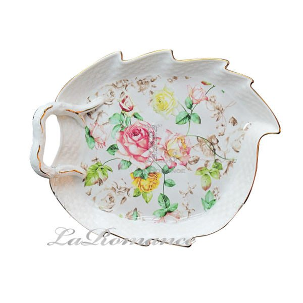 【芮洛蔓 La Romance】帝凡內系列清晨玫瑰綠葉造型淺盤 / 點心盤 / 首飾收納盤 / 置物盤