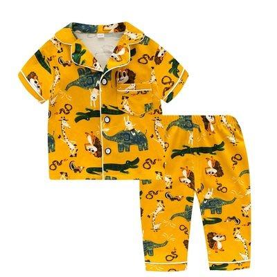 •*~ 辣媽咪衣飾小舖 ~*•❤童裝系列❤K950194韓版兒童夏款超可愛萌款『鰐魚』圖案家居服上衣+長褲二件套