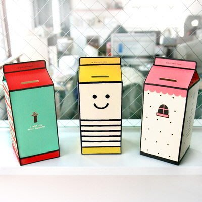 *YOOWOO*【韓國空運 Monopoly Storing Box 可愛牛奶盒造型 粉紅小屋 咖啡店 小蜜蜂 存錢筒】