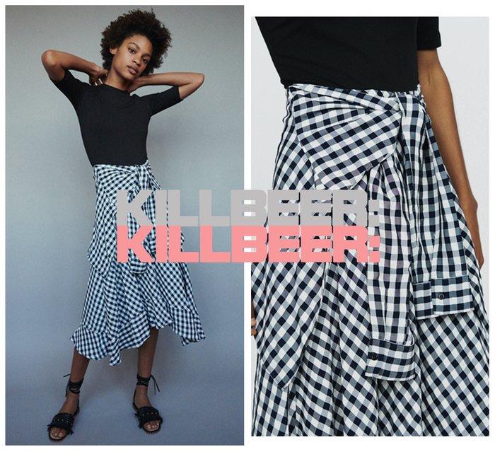 KillBeer:漂丿的都市名媛之 歐美復古品牌外流氣質優雅英倫撞色黑白格紋絕黑針織拼接綁帶連身裙長洋裝010709