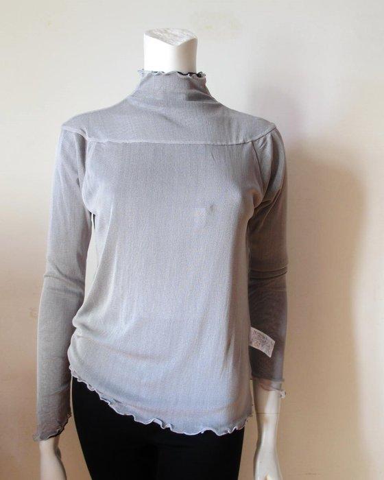 【絲絲入扣】日單100%桑蠶絲雙層網眼圓領長袖真絲衫(黑/淺灰可二面穿適胸88~100cm)試穿價