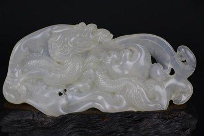 【三顧茅廬 】回流珍藏~~~國寶壽山石擺件----老坑滿絲高山晶 『祥龍出海』