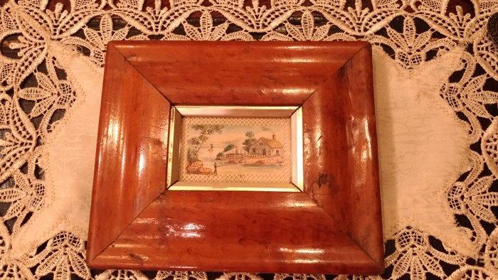 【家與收藏】特價稀有珍藏歐洲古董法國精緻古老微型畫手繪田園風景畫擺飾2