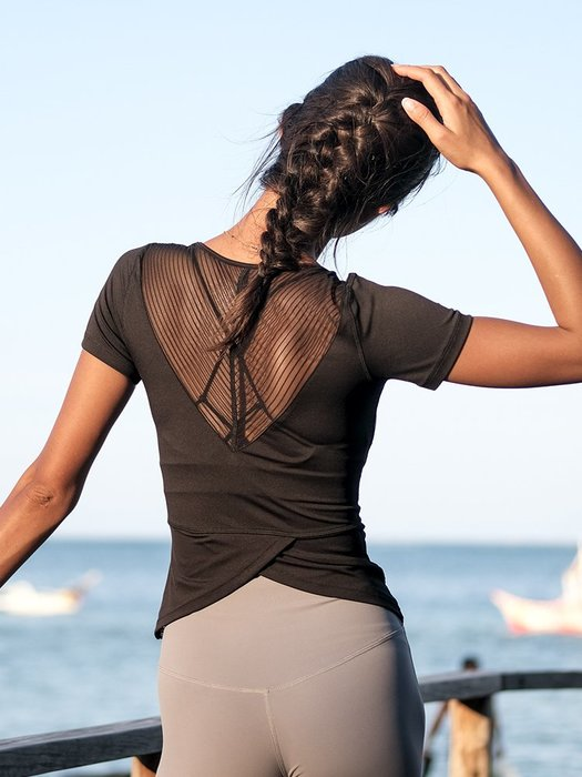 上衣跑步訓練速乾運動t恤女短袖瑜珈服上衣網紗拼接健身衣女--崴崴安