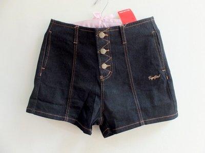 Top Girl 舒適 高腰 美腿 鈕扣 彈性 牛仔 短褲/ 牛仔褲- 黑- M 號 (M~L穿)- 新- 原價1580