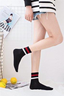 百搭二條杠純棉襪子船襪日系韓國中筒堆堆襪女學院風運動短襪低幫