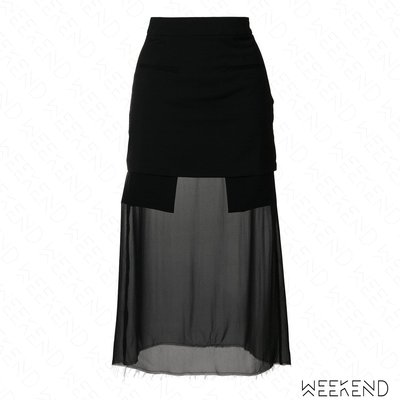 【WEEKEND】 EACH X OTHER 拼接 下擺不修邊 透視 半身裙 黑色