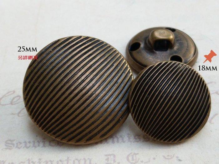 DAda緞帶‧I50083.18mm貝殼條紋仿古銅金屬鈕扣1個$10大衣外套風衣