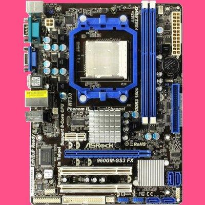 華擎960GM-GS3 FX主機板、AM3、記憶體支援DDR3、ATi 顯示晶片、支援八核心處理器、附擋板 桃園市