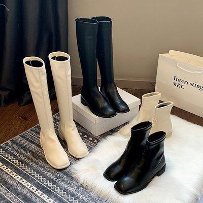 冬季保暖女靴 馬丁鞋 長靴機車靴 韓版百搭ins馬丁靴女秋冬英倫風百搭平跟短靴女高筒靴長靴子