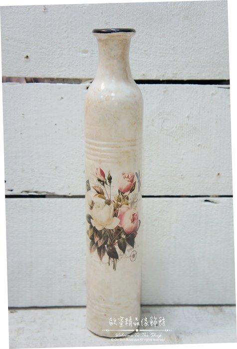 ~*歐室精品傢飾館*~鄉村風格 典雅 溫馨 玫瑰 細長 陶瓷 小口徑 花瓶 花器 擺飾 布置 居家 民宿~新款上市~