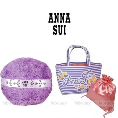 february 小舖 - [全新真品] ANNA SUI 安娜蘇 經典娃娃粉撲枕+夏日豔陽手提包 2件組 抱枕 提袋