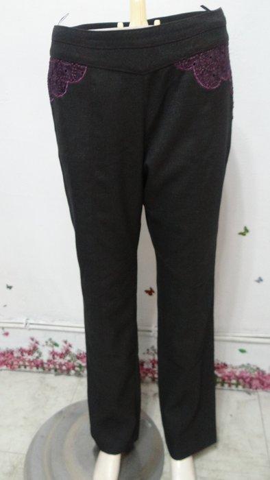 ~小芬ㄉ私房舖~A9770 LAFALEE專櫃黑色銀亮紫蕾絲飾小直西裝長褲 9號.腰30吋