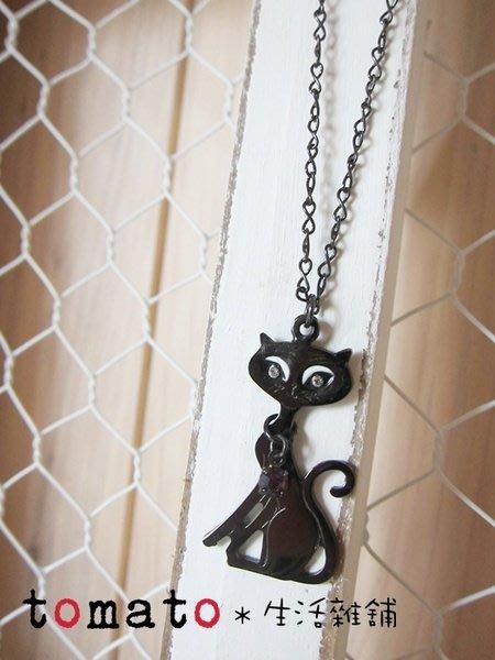 ˙TOMATO生活雜鋪˙日本進口戴項鍊的黑貓造型項鍊(出清)