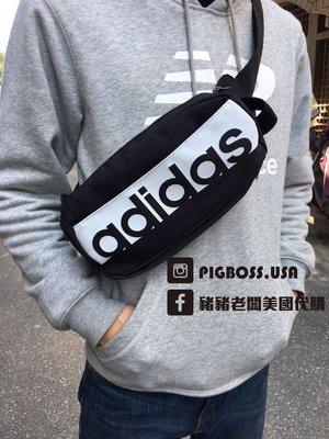 【豬豬老闆】ADIDAS 3S PER WAISTBAG 黑白 方塊 黑色 LOGO 腰包 隨身 側背包 S99983