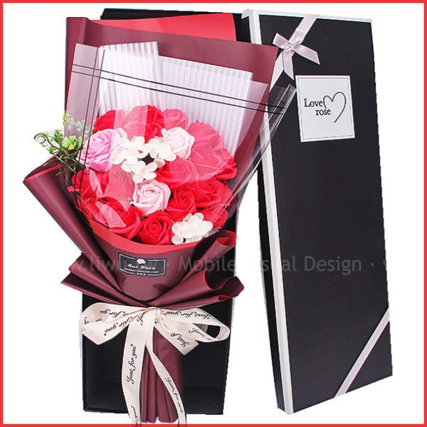 LoveRose情人節玫瑰香皂花束-熱戀紅(精美盒裝)(限宅配) 情人節禮物 生日禮物 結婚禮物