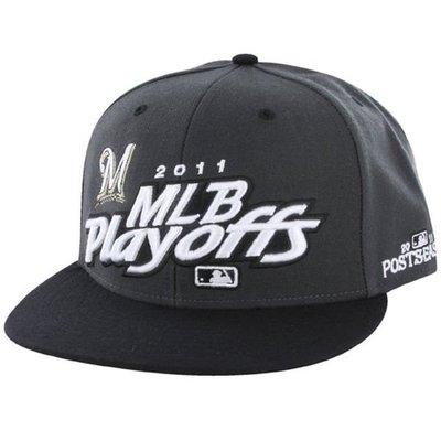 MLB 美國職棒大聯盟Milwaukee Brewersl 2011 釀酒人 季後賽 紀念帽 棒球帽 電繡